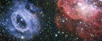 Два очень разных газовых облака в соседней галактике