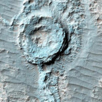"""Перевернутый"" кратер на Марсе"