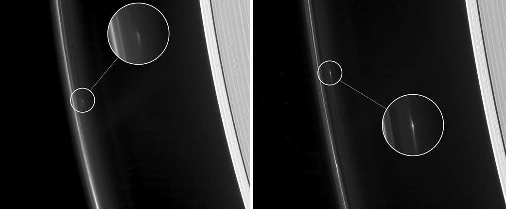 Космический аппарат «Кассини» обнаружил космические тела в кольце F Сатурна