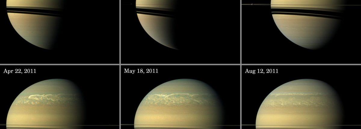 Гигантские бури нарушают атмосферу Сатурна