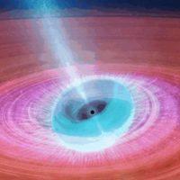 Черная дыра поглощает пространство-время, испуская мощные струи плазмы