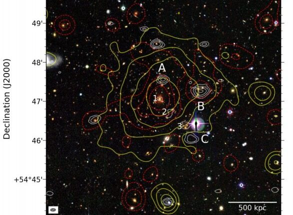 В скоплении галактик PSZ2 G099 выявлен загадочный ореол из радио-излучений