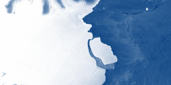Гигантский айсберг только что оторвался от Антарктиды в неожиданном месте