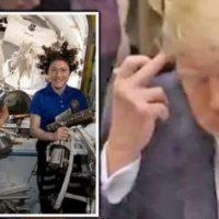 Дональд Трамп показал непристойный жест женщине-астронавту