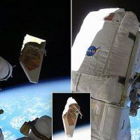 НАСА поделилась видео о том, как астронавт выбрасывает мусор в космос