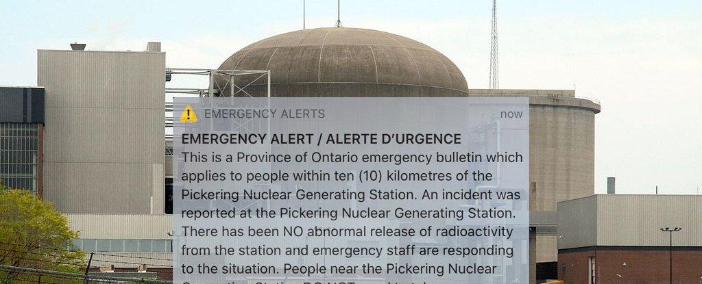Оповещение об аварии на атомной электростанции, направленное миллионам людей в Канаде, оказалось ложной тревогой