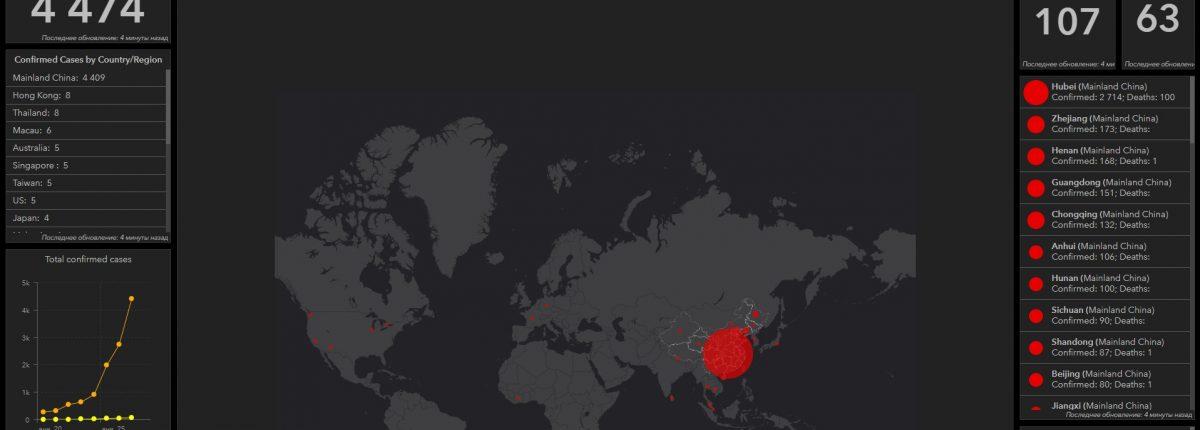 Этот сайт позволяет отслеживать глобальное распространение Китайского коронавируса в режиме реального времени