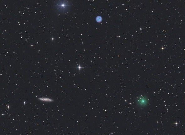 Редкое астрономическое событие: три космических объекта в одной области