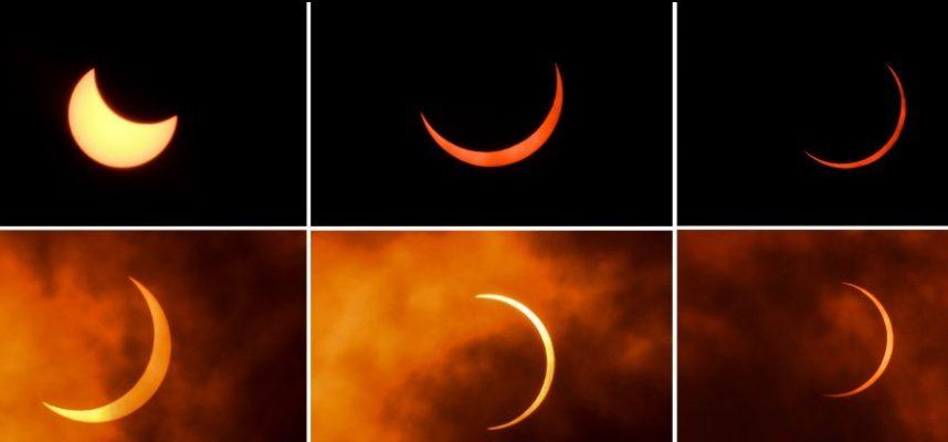 Фото захватывающего солнечного затмения «Кольцо Огня»