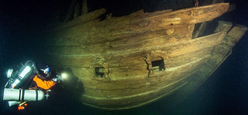 Хорошо сохранившийся корабль 17 века, найден в темных водах Балтийского моря