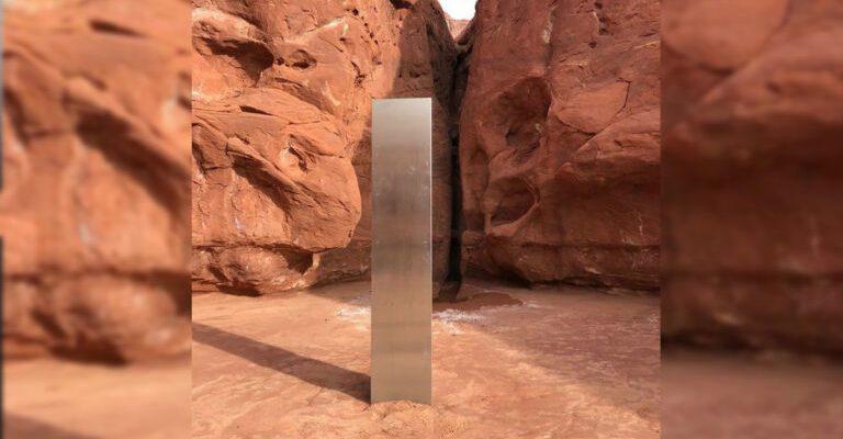 В пустыне обнаружен загадочный металлический монолит